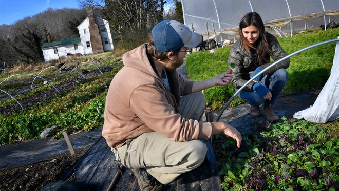 Marti Emch, founder of Meel, right, delivers locally grown food with recipes to Nashville residents. She talks with farmer Christian Coleman of Pond Creek Gardens in his garden. Emch wanted to make the CSA experience easier for busy people so they could enjoy more natural, locally sourced food. Thursday Dec. 7, 2017, in Nashville, TN