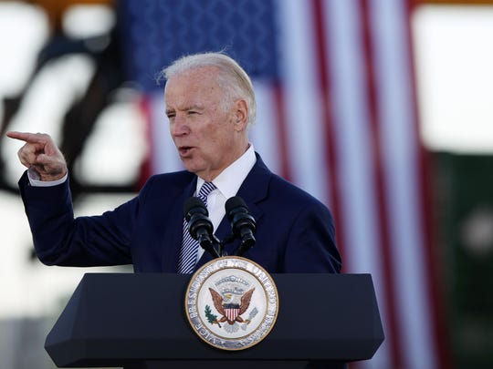 Joe Biden delivers a speech at the Norfolk Southern Memphis Regional Intermodal Facility in Rossville, outside of Memphis, in 2016.
