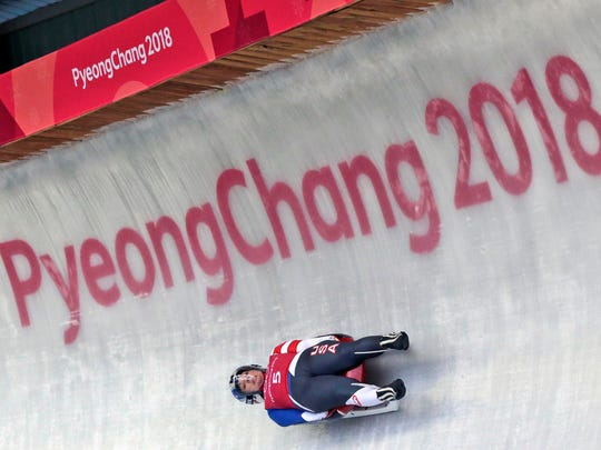 Erin Hamlin of the United States takes a luge training run at the 2018 Winter Olympics in Pyeongchang, South Korea, Saturday, Feb. 10, 2018. (AP Photo/Andy Wong)