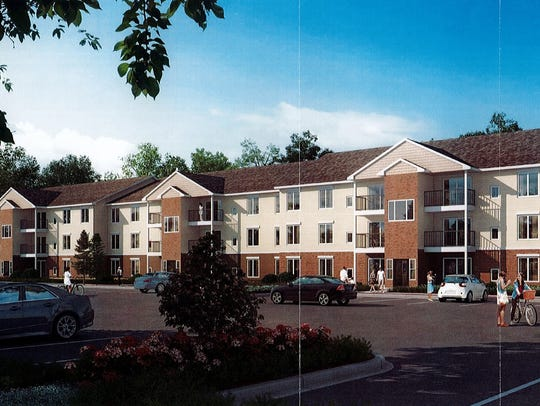 Site plans for a three three-story apartment buildings