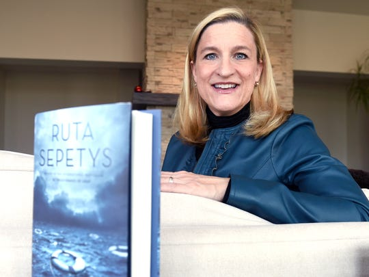 """Ruta Sepetys poses for a portrait at her Brentwood home. The bestselling author's latest book, """"Salt to the Sea,"""" will be released Feb. 2."""