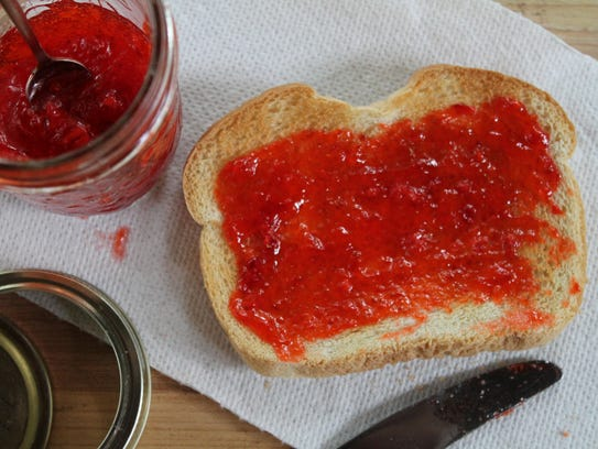 A smear of freezer jam is the flavor of summer on a