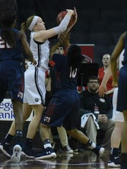 Belmont's Sally McCabe battles for a rebound against