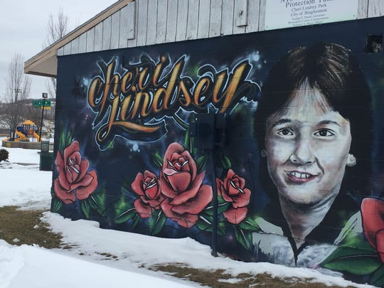 Cheri Lindsey's face was painted on a mural adorning the clubhouse at her namesake memorial park in Binghamton.