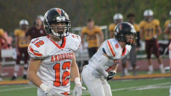 Anderson senior Zach Fickenworth prepares to defend the Spartans of Turpin.