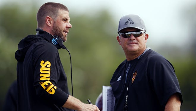 Billy Napier (left) and Todd Graham will not return to ASU next season. Napier is going to Louisiana. Graham was fired.