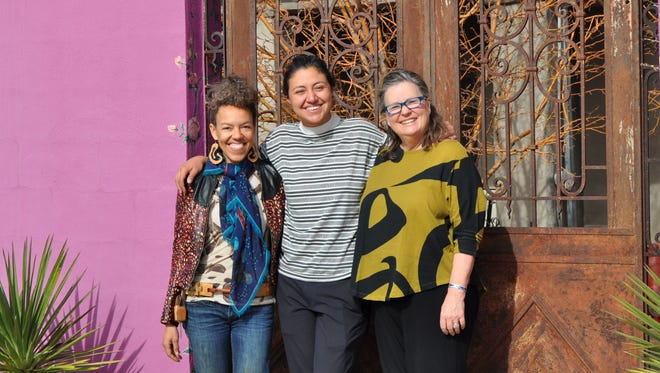 The idea for the Carrizozo Colony Artist in Residence program began in the mind of Carrizozo artist and resident Paula Wilson who then shared it with fellow artist Joan Malkerson. Pictured, from left; Paula Wilson, artist in residence Jimena Gracia and Joan Malkerson.