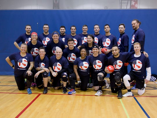 Members of the USA dodgeball team.