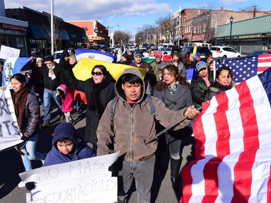 Tariq Zehawi/NorthJersey.com Immigrants and Americans march Thursday in Englewood in solidarity to protest the immigration policies of President Donald Trump. Immigrants and Americans marched in solidarity to protest the immigration policy of President Donald Trump Thursday morning in Englewood. They marched from the Englewood World War Memorial along Palisade Ave to the Municipal Building. Tariq Zehawi/NorthJersey.com