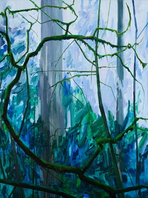 """""""Tree on Moss,"""" 2016, oil on canvas, by  Claire Sherman and part of the exhibit """"Fern Canyon, Paintings by Claire Sherman"""" at the Kentucky Museum of Art and Craft."""