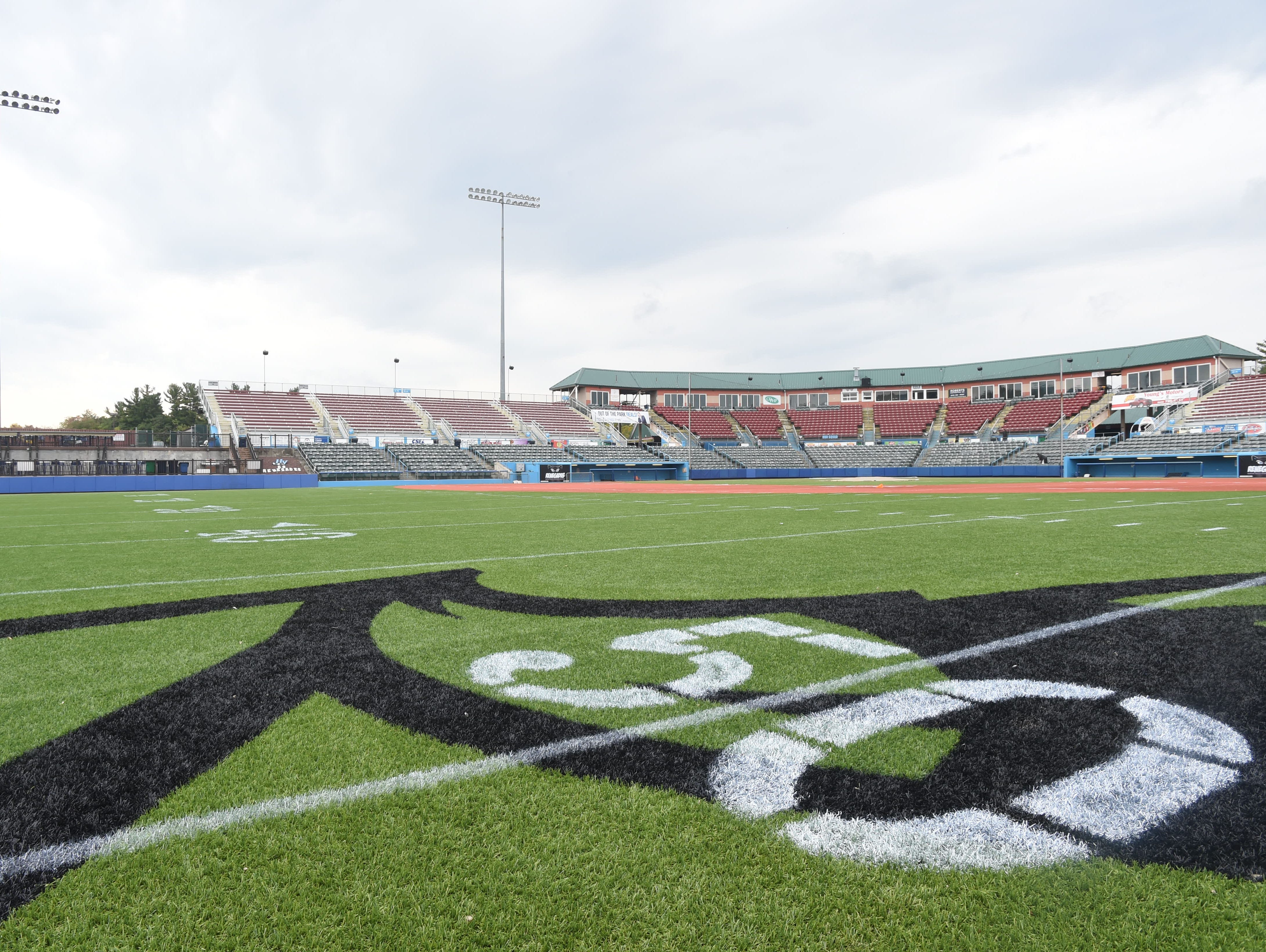The 50 yard line at Dutchess Stadium in Fishkill on Friday. Dutchess Stadium prepares for opening day on October 10th for the minor league football team, the Hudson Valley Fort which will play three home games.
