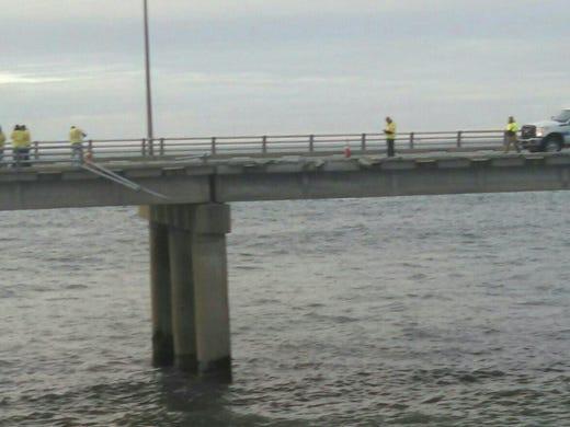 Stretch of Chesapeake Bay Bridge Tunnel where truck