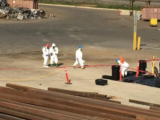 hazardous materials team suited up at Pacific Steel
