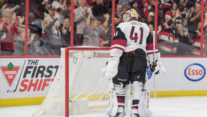 Oct 18, 2016: Arizona Coyotes goalie Mike Smith (41) reacts after a goal against the Ottawa Senators in the second period at the Canadian Tire Centre.