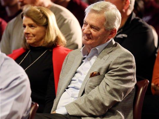 Virginia Tech head football coach Frank Beamer, right,