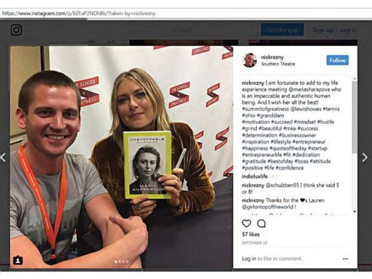 An Instagram post shows Nicholas Rezny with tennis great Maria Sharapova at what appears to be a book signing event in Columbus, Ohio.