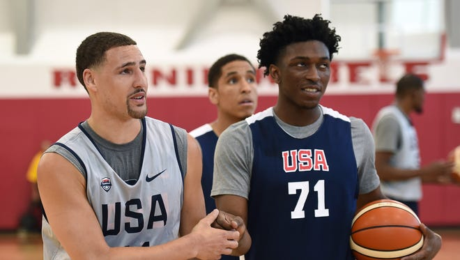 Stanley Johnson practices with USA Basketball on Monday, July 18, 2016, in Las Vegas.