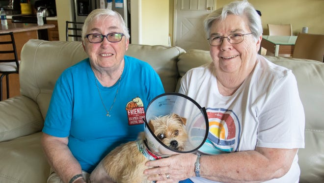 Foster parents Elaine, left, and Helen King pose with Oscar as he recovers from surgery for his broken leg at their home in Pensacola on Saturday, March 24, 2018.  Friends of Escambia County Animal Services raised over $3,000 to cover the needed surgery.