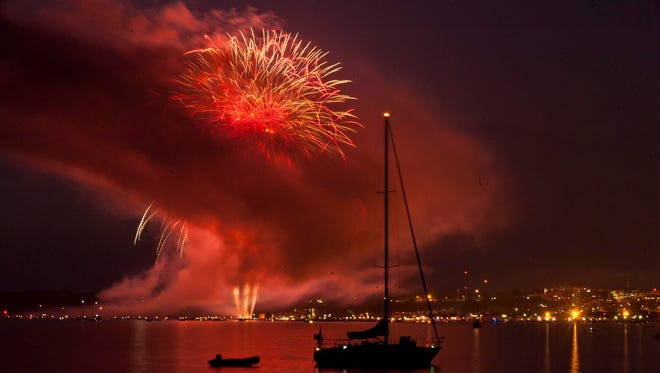 Fireworks explode over Burlington during the Independence Day festivities in 2013.