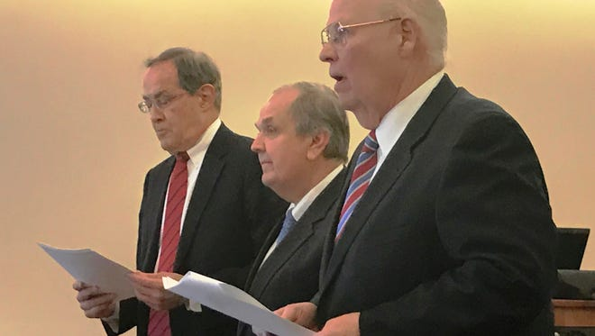 Ex-Sen. George Maziarz, center, is arraigned in Albany County Court on Thursday, flanked by his attorneys Joseph LaTona (right) and E. Stewart Jones.