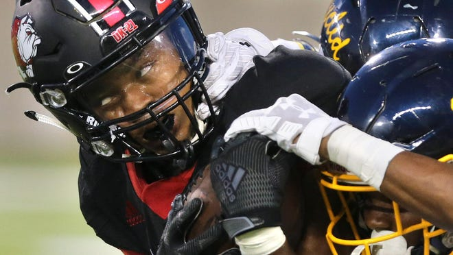 McKinley's Tyson Durant, the victim of a facemask penality during this Sept. 13, 2019 game against Euclid, has committed to play at the University of Akron.