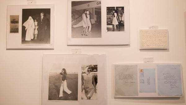 Groups of photos of Jacqueline Kennedy Onassis by Bob Davidoff, who spent decades as the Kennedy family?s photographer in Palm Beach, and other personal correspondence written by Kennedy Onassis appear on display before they are auctioned off in West Palm Beach, Fla. The auction will include a few dozen pieces including handwritten notes that were sent throughout the 1980s and early 1990s to interior designer Richard Keith Langham and Bill Hamilton, who at the time was the design director at Carolina Herrera.