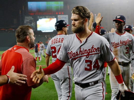 Washington Nationals right fielder Bryce Harper walks