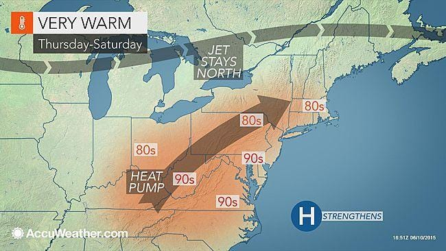 Hot, humid air is on the way to the New York area for the end of the week, as seen in this AccuWeather.com map, June 11, 2015.