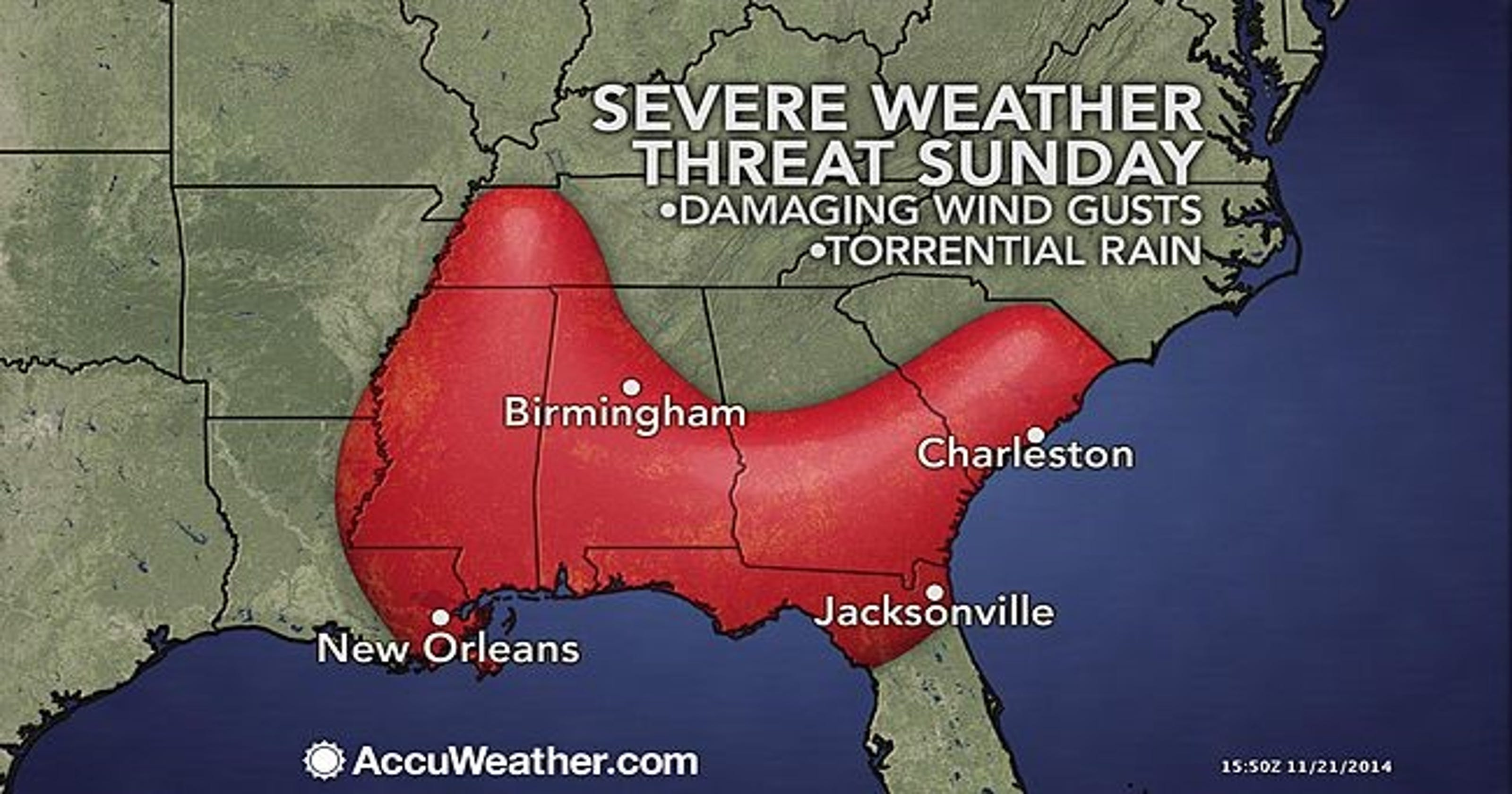 Accuweather Severe Weather Map.Severe Weather Threatens South As Thanksgiving Travel Begins
