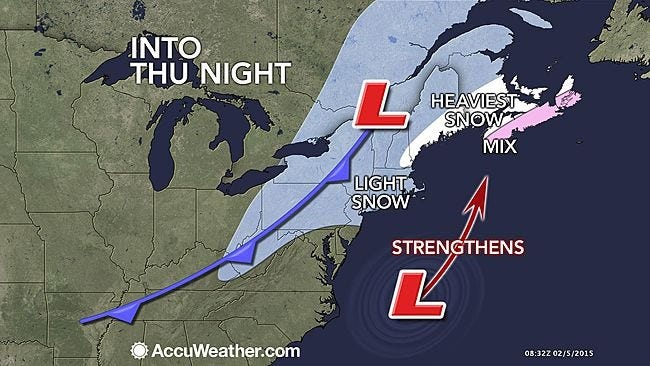 The New York area will see some snow and plunging temperatures Thursday, Feb. 5, 2015.