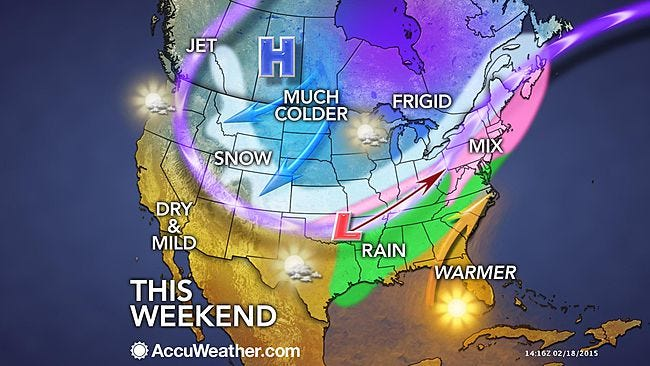 Weather outlook for the weekend of Feb. 21-22, 2015.