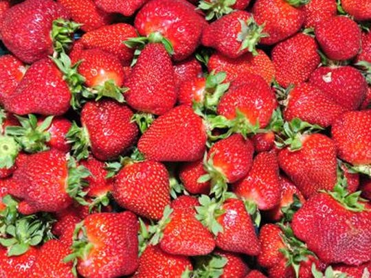 Local strawberries are shown.