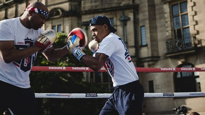 Errol Spence Jr., right, during a media workout this week.