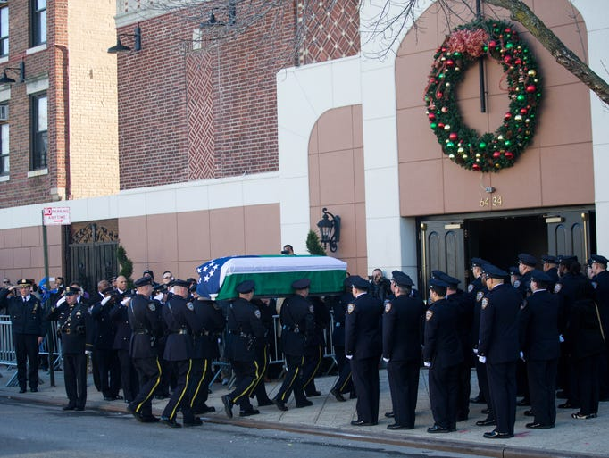 The casket of murdered New York City police officer