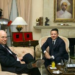 Then-Vice President Dick Cheney meets with Jordan's King Abdullah II at the king's residential palace in 2002. The king was then an eager backer of the U.S.-led war on terror, but didn't want to see it expanded to neighboring Iraq.