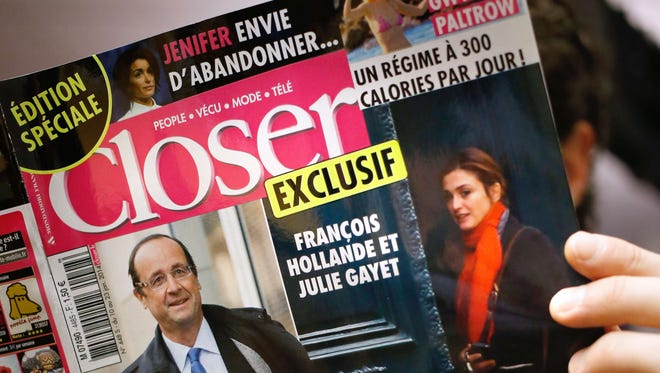 """French magazine """"Closer"""" alleges a secret affair by President Francois Hollande in its Jan. 10 edition."""