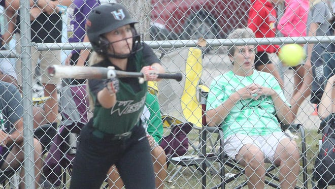 Dylan Perry of the Westran Lady Hornets prepares to bunt the softball during an Aug. 29 home game. Westran defeated Brunswick 16-6 Wednesday and were scheduled to play Thursday at Madison.