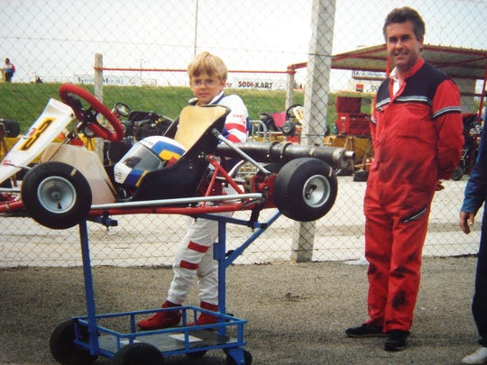 Sebastien Bourdais as a kid driver.