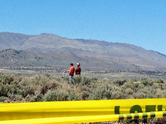 This is the scene of a fatal helicopter crash today at the Stead airport.