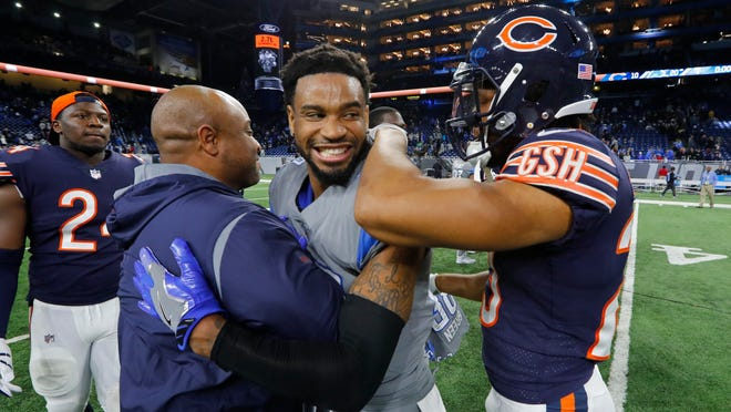 Lions cornerback Darius Slay, center, had two interceptions against the Bears on Saturday at Ford Field.