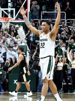 Michigan State's Miles Bridges celebrates the Spartans victory over Purdue on Saturday, Feb. 10, 2018, at the Breslin Center in East Lansing. The Spartans beat Purdue 68-65.