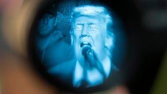 President Trump being viewed in Pensacola on Dec. 8, 2017.