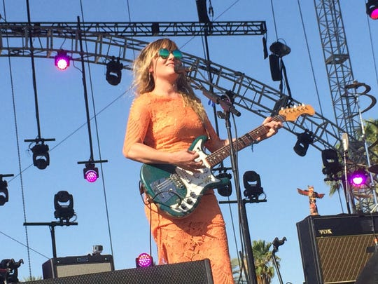 Julia Stone of the brother-sister duo Angus & Julia Stone performs Friday, April 17, 2015, at the Outdoor Theatre at the Coachella music festival.
