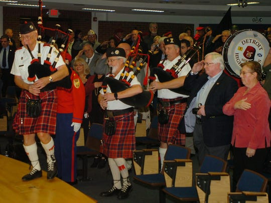 The ceremony honoring Vietnam veterans featured the Shrine Pipe and Drum Corp and Shrine Legion of Honor.