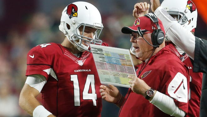 Arizona Cardinals QB Ryan Lindley goes over a play with coach Bruce Arians during a timeout against the Seattle Seahawks at University of Phoenix Stadium in Glendale, Ariz. Dec. 21, 2014.