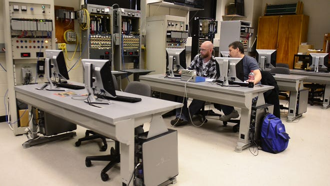 Terra State Community College students use the programmable logic controllers lab at its Fremont campus.