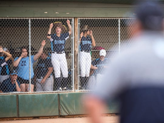 Richmond High School players cheer from the dugout