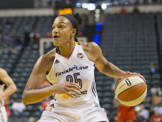 Marissa Coleman, a guard/forward with the Indiana Fever plays against the Washington Mystics May 6.