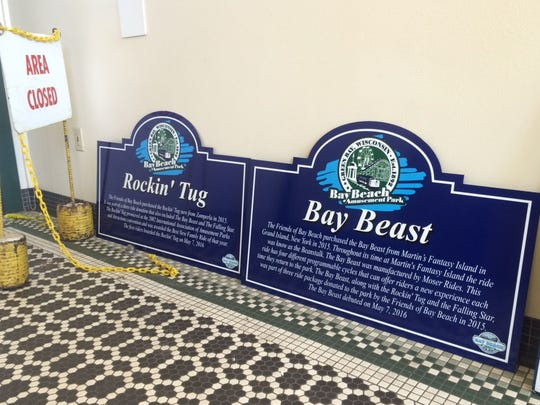 The signs for the two new rides at Bay Beach Amusement
