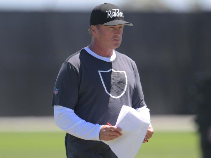 Oakland Raiders coach Jon Gruden during minicamp at